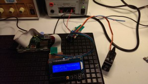 Testaufbau mit Raspberry Pi, Display, PWM Treiber und Servo